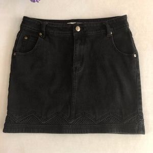 MINKPINK Black Denim and Mesh Skirt Medium